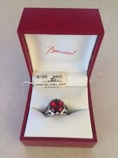 Baccarat Red Crystal Sterling Silver Ring - size 5 1/2