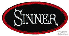 SINNER embroidered iron-on RELIGIOUS BIKER PATCH jesus CHRISTIAN EMBLEM NAMETAG