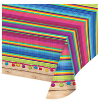 "Fiesta Party Table Cover 54"" x 102"" Mexican Disposable Plastic TableCloth Serape"