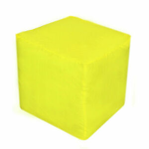 "22X22X22"" Square Footstool Cover Yellow Pouf Ottoman Cover Seating Ottoman Cover"