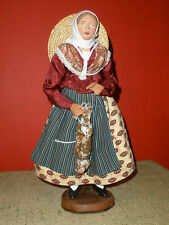 "12"" Figurine Santon Provence Woman w/Dead Rabbit/Hare Clay French France Figure"