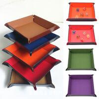 1PC Board Dice Tray Plate Pu Leather Hexagon Folding Storage Box Nightclub Game