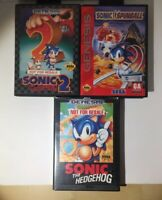 Sonic The Hedgehog 1 And 2 And Pinball With Cases