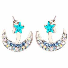 Gold Aqua AB and Royal Blue Rhinestones Star on the Moon Stud Earrings  E1230
