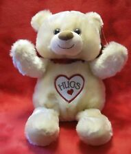 "FIRST & MAIN Plush Bear Cream Hugs Embroidered On Chest Red Bow 15"" Tall 51:FF15"