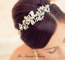 Side tiara,Pearl head band,Diamante Wedding headpiece,Bridal hair accessories
