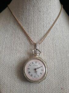 Vintage Signed Endura Wind Up Watch Pendant necklace