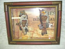 NATIVE AMERICAN SHADOW BOX WALL HANGING DISPLAY ANIMALS AND HEAD FIGURES IN 3-D