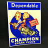 CHAMPION SPARK PLUGS Vintage Style DECAL, Vinyl STICKER, rat rod, racing, hotrod