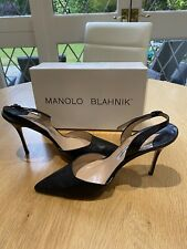 Manolo Blahnik Black Lizard Leather Pointed Slingback Court Shoes/41/UK 8