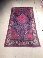 6' x 10' Persian Wool Runner Hand Knotted Semi-Antique Herati Rugs over Carpet