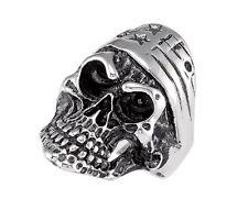 Skull Ring Black Antiqued Stainless Steel Size 8.50 - 14.0