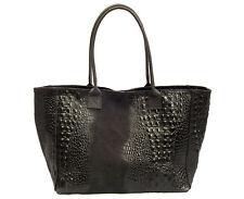 Made in Italy XL Ledershopper echt Leder schwarz Kroko Schultertasche Shopper