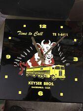 Vintage Bakersfield Cattle Transport Clock Farm Feed Advertising Sign
