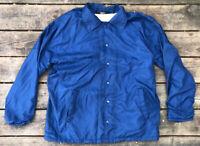 Vintage Sears Outerwear Mens Large Windbreaker Jacket Navy Blue Cotton Lined