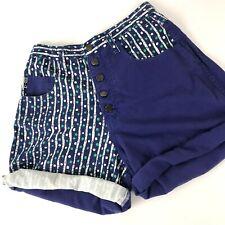 Vtg high waist shorts 90s Blue Purple Geo Polka Dot EZ LA Sz 9 USA Color Block