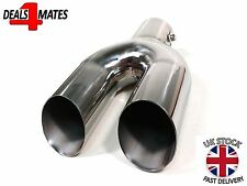 UNIVERSAL TWIN DOUBLE SPORT CHROME EXHAUST PIPE TRIM TIP TAIL MUFFLER 37-60MM