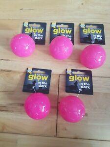 Good Boy - x5 Pink Glow In The Dark - Puppy / Dog Squeaky Balls -  Joblot