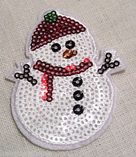 ÉCUSSON PATCH thermocollant SEQUIN - BONHOMME de NEIGE NOËL ** 5,5 x 7 cm **