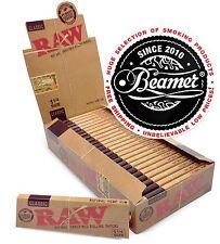 24 RAW Classic Hemp Gum Vegan Rolling Papers Full Box Natural Paper 1 1/4 Size