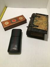 Decorative Faux Vintage Wood Book Box, Leather Box and more. Lot of 3 / Staging
