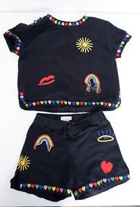Stella Mccartney Kids Black Outfit Set Shorts & Top Age 8 Years  VGC 2x Piece