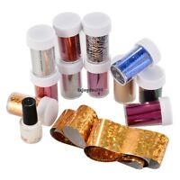 12 Colors Nail Art Transfer Foil Sticker for Nail Tips Decoration Glue Set OO55
