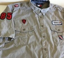 Vintage Tommy Hilfiger Jeans Shirt Spell Out Military Style Garage Work Flag 2XL