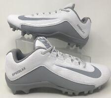 NIKE Speedlax 5 White/Silver/Gray Lacrosse Cleats 807158 100/Women's Size 9.5 !!
