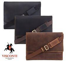 Large Messenger Bag Real Leather Cross Body Tan Brown Black Visconti Texas New
