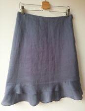 H&M SKIRT linen lined tiered hem line midi blue zipper EU38 UK10 VGC