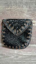 Elegant Vintage Delill Black and Copper tone Beaded Clutch Bag