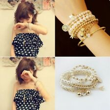 Women Gold Multilayer Pendant Pearl Beads Charm Bangle Chain Bracelet Jewelry
