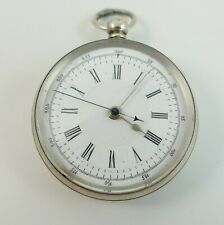 Swiss Silver 800 Center Second Chronograph 3/4 Plate Fusee Dr's Pocket Watch