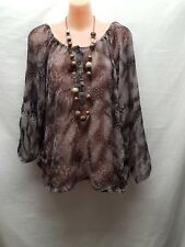 JUST JEANS BROWN GREY TONES PEASANT TOP SMART CASUAL SIZE 12