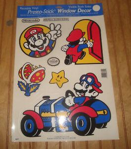 Vintage 1989 Nintendo Super Mario Bros 5 Piece Vinyl Reusable Window Decals Set