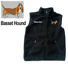 Basset Hound Dog Fleece Vest with Zippers Personal Name Stitched Monogrammed