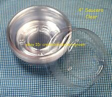 """4"""" Clear Vinyl Plastic Pot Saucers for House Plants (50 4-Inch)  3-3/8"""" @ Bottom"""