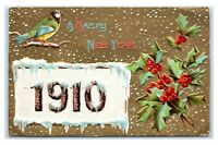 Postcard A Happy New Year 1910 Greeting Embossed, posted 1909 J36