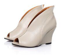 Stylish V Throat Peep Toe Ankle Wedge Boots Black Beige Blue