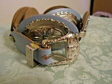 VINTAGE LADIES WESTERN BLUE LEATHER CONCH BELT M/L