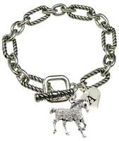 Custom Horse Equestrian Designer Toggle Bracelet Jewelry Choose Initial Family
