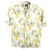 Caribbean Joe Hawaiian Aloha Shirt Mens XXL Palm Leaves Pineapple Banana White