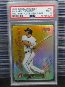 2017 Bowman's Best Paul Goldschmidt Gold Refractor 1997 Best Cuts #/50 PSA 9 E97
