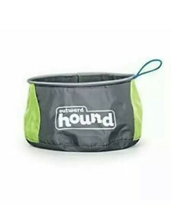 "Outward Hound Port-A-Bowl 48oz Food Water Travel Bowl Green/Gray 6"" x 6"" x 3.5"""