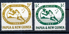 PAPUA & NEW GUINEA 1963 FIRST S. PACIFIC GAMES SG49/50 IMPRINT BLOCKS OF 4 MNH