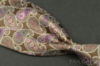 "ERMENEGILDO ZEGNA Recent Brown Paisley SATIN 100% Silk Mens Luxury Tie - 3.50"""