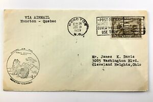 1929 Canadian First Flight Commemorative Covers Moncton To Quebec Envelope 866B