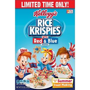 Kellogg's Rice Krispies Toasted Cereal with Red & Blue Krispies, 9.9oz Box