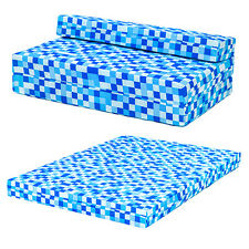Blue Pixels Kids Double Chair Bed Sofa Z Bed Seat Foam Fold Out Guest Futon